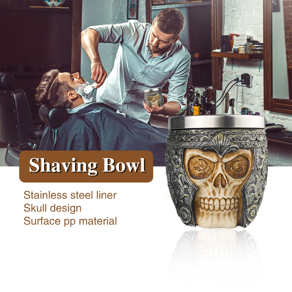 Retro Barber Skull Soap Bowl Cleaning Shaving Foaming Bowl Men's Facial Beard Care Bowl Barbershop Accessories Tools