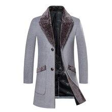 Manteau de laine automne et hiver coupe-vent version coréenne des hommes de lauto-culture long manteau de laine épais revers chaud