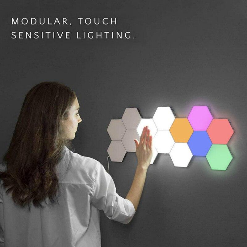 Цветной квантовый настенный светильник, светодиодный шестиугольный светильник, модульный сенсорный ночник, магнитный шестигранный декора...