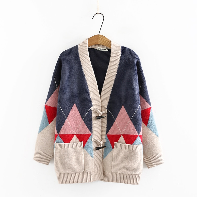 Autumn Winter Red Blue Camel Rhombus Pattern Cardigan Sweater Women V-Neck Low Horn Button Design Raglan Sleeve Woolen Knitwear enlarge