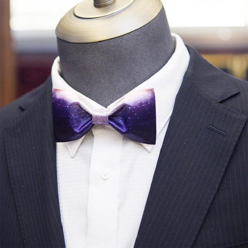 High Quality 2020 New Men Bow Tie Handmade Blue Fantasy Starry Sky Print Bowties Designers Brand Wedding Bow Ties for Men Gift