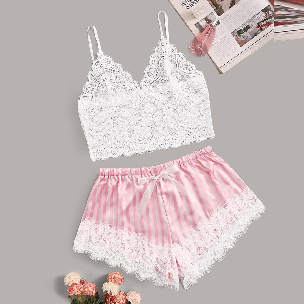 Sexy Lace Satin Sleepwear Set Fashion Women V-neck Bowknot Sleeveless Tops Shorts Lingerie Set Conjunto Cueca 2019 Hot Sale E