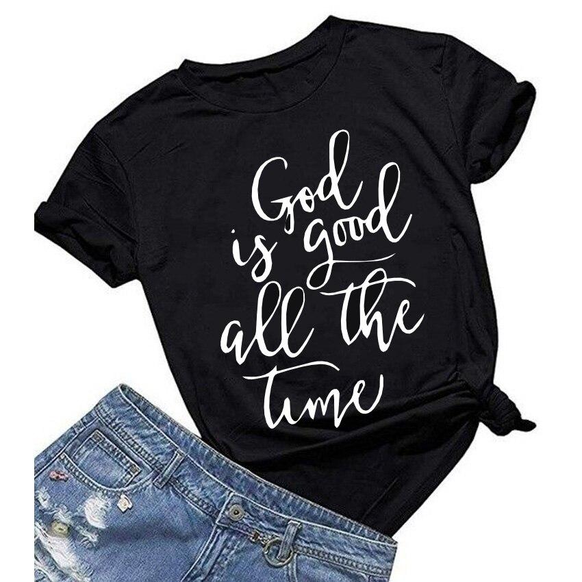 Футболка God is Good, Женская Повседневная футболка с принтом, Круглый ворот, забавная летняя футболка, белые/черные