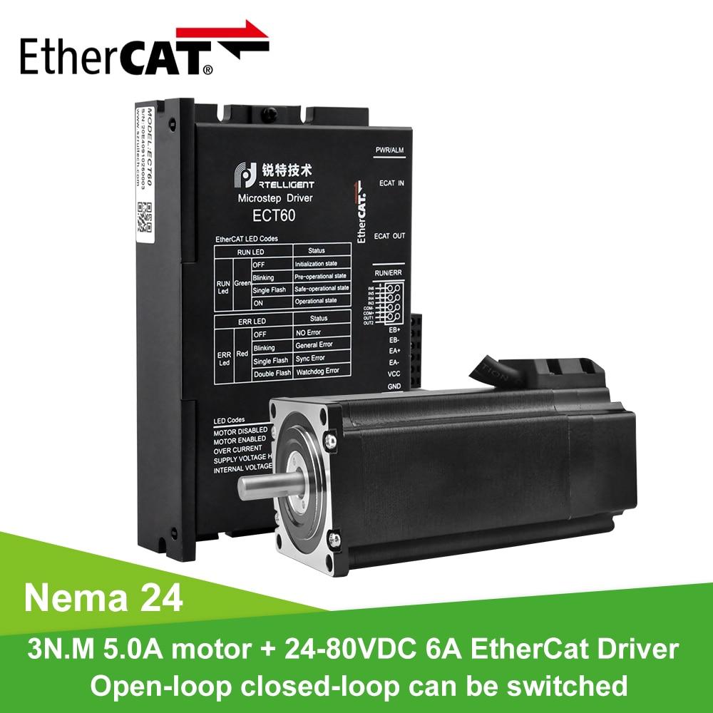 Rtelligent Nema 24 60A3ED 3.0N.M 5.0A Motor paso a paso de bucle cerrado de 2 fases con Kits de controlador de motor paso a paso Ethercat
