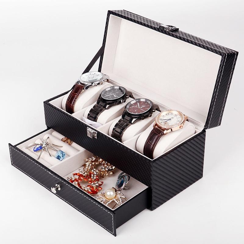 New Fashion Luxury Watch Box Leather Watch Storage Box with Drawer Watch Box Ring Brooch Jewelry Display Storage Box