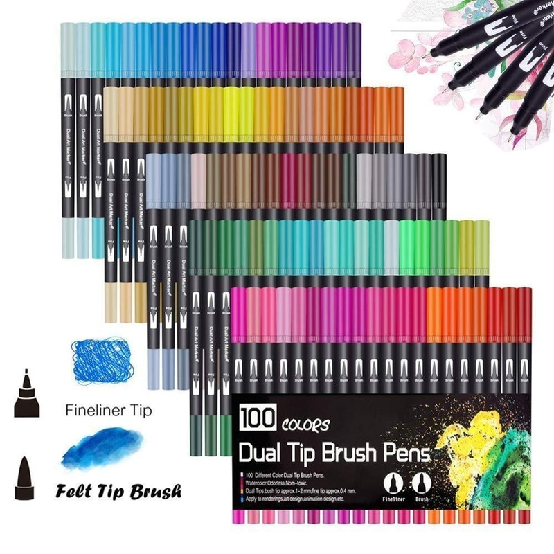 New 100 PCS Colors Dual Tip Brush Pen FineLiner 0.4mm Brush 1-2mm Drawing Painting Watercolor Art Marker Pens for Coloring Write