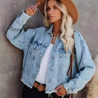 women denim jacket with row edge at bottom single breasted casual coat