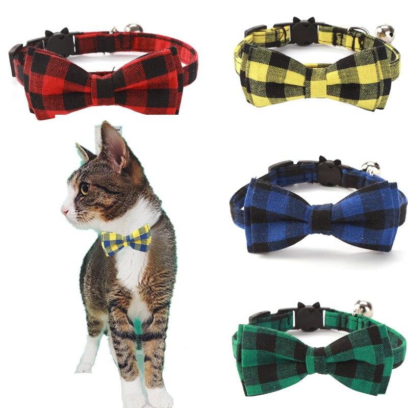 Colorido xadrez grade gato coleiras algodão listrado bowknot colar bulldog chihuahua laço laço filhote de cachorro pequeno cão festa bandana colar