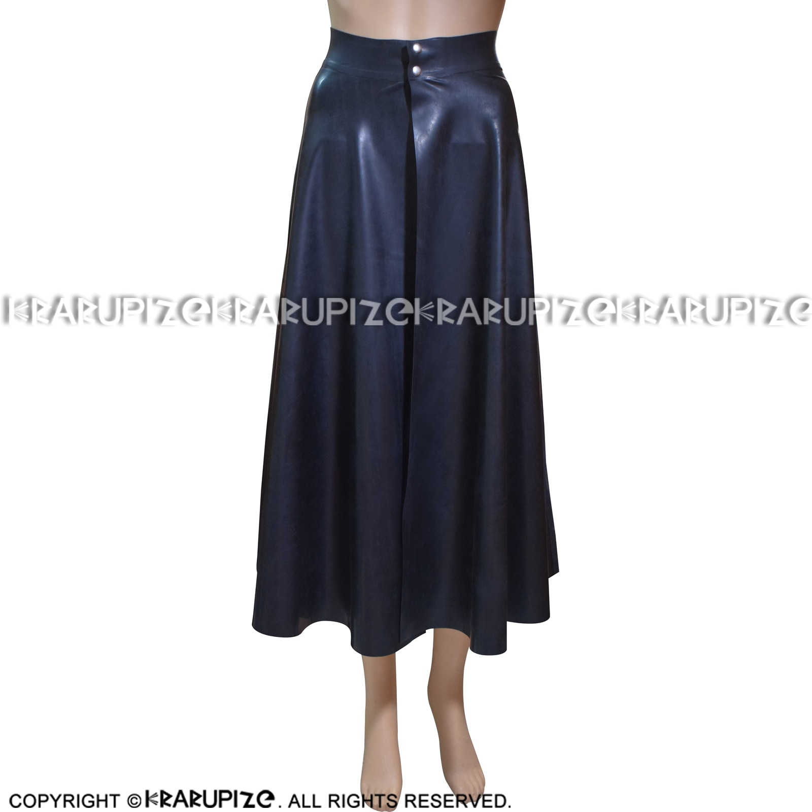 Black Sexy Mini Latex Pleated Skirt With Front Open And Buttons Short Rubber Bottoms Uniform DQ-0007