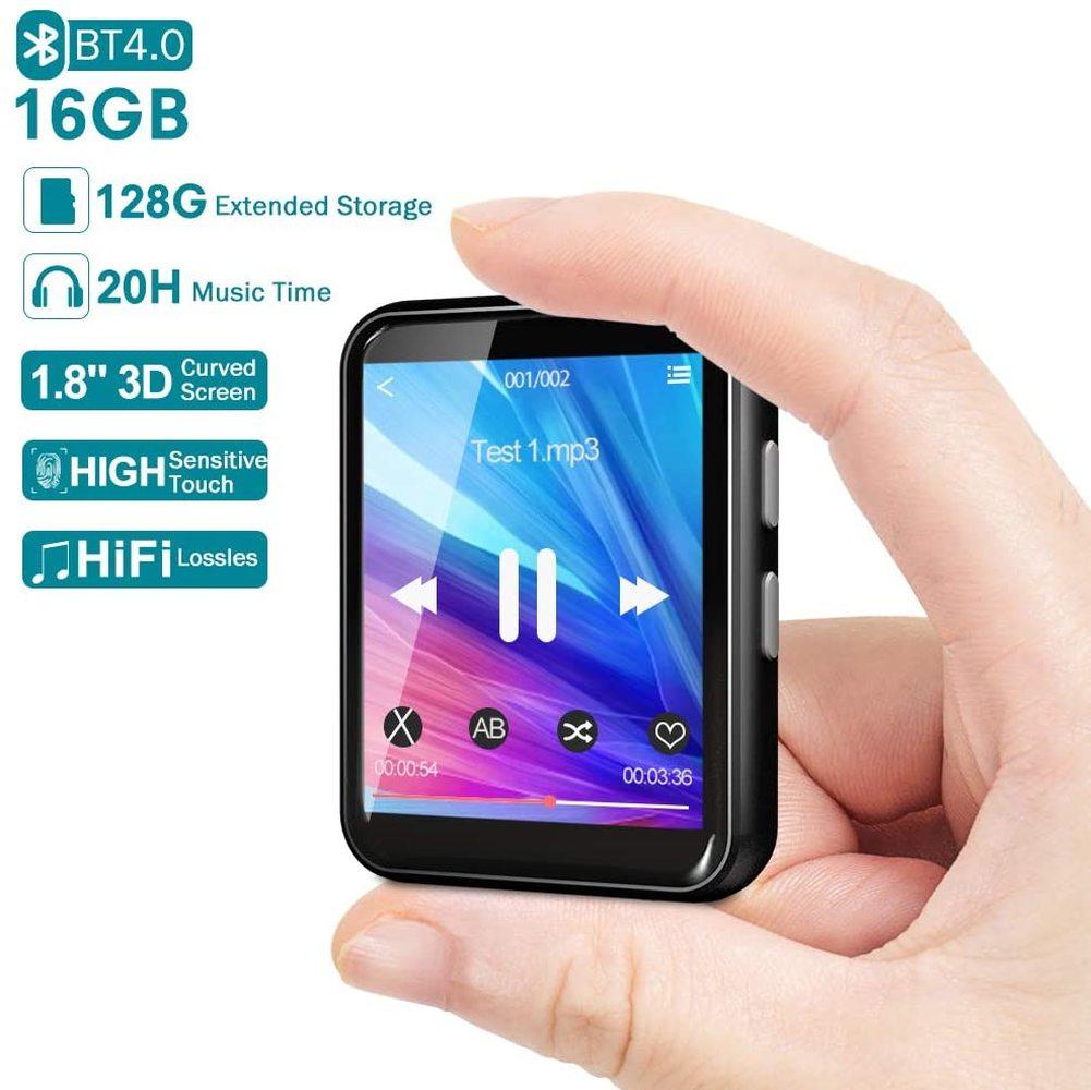 Reproductor de MP3 Bluetooth 16GB Sport portátil Walkman con almacenamiento extensible pantalla completamente táctil Hifi FM Radio grabadora de voz E-book