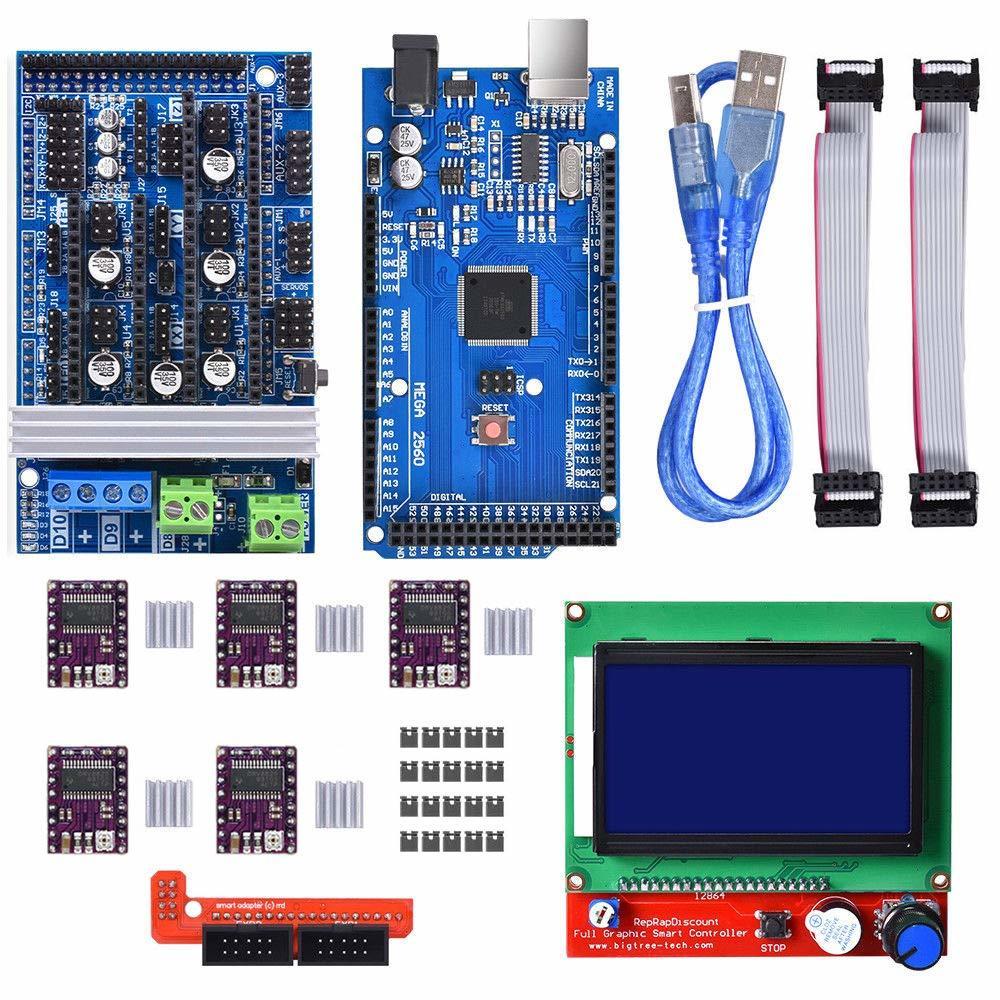 reprap 4 layer pcb module 5pcs 3d printer stepstick drv8825 stepper motor driver for 3d printer replacement acehe 3D Printer Controller Kit with Mega 2560 R3 + RAMPS 1.6 + 5Pcs DRV8825 Stepper Motor Driver + LCD 12864 Reprap for Arduino