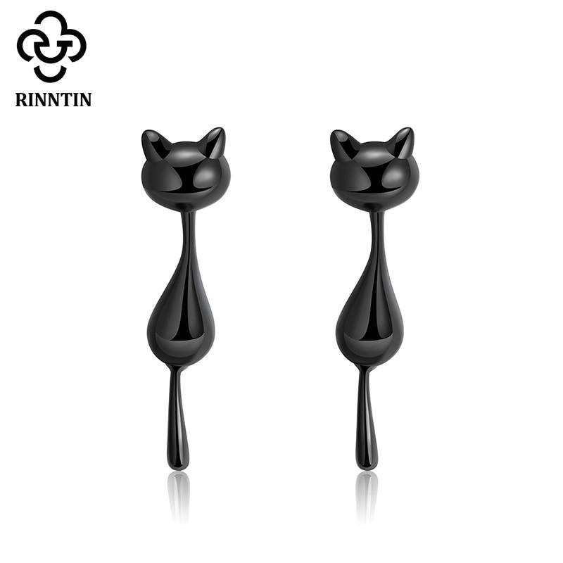 Rinntin moda 925 plata esterlina gato negro Stud pendientes bonitos animal pendiente para mujeres niñas Dropshipping joyería TSE90