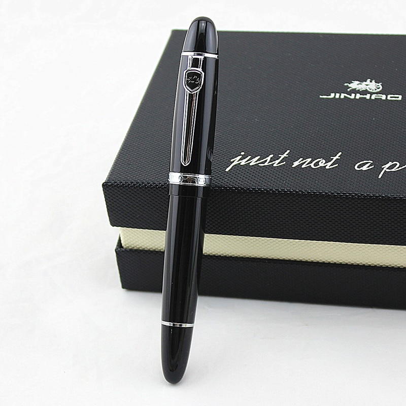 2pcs jinhao chinese two dragons playing with the pearl antique silver heavy advanced rollerball pen andfountain pen j1190 Advanced roller ball pen Jinhao 159 Black Bright with Silver Broad PEN luxury Writing ball Pens Gift