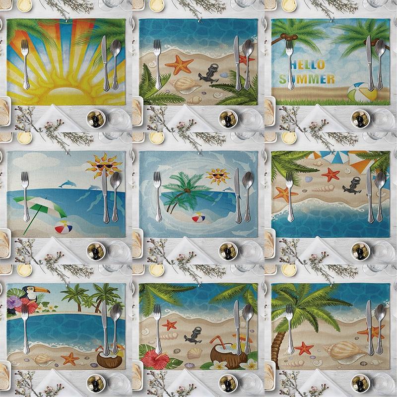 Mantel Individual con diseño de playa junto al mar, mantel de lino con diseño de árbol de Coco para mesa de comedor, decoración de cocina, hogar