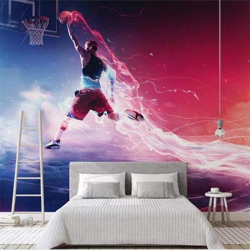 Papel tapiz personalizado de baloncesto fresco slam dunk Fondo pared del dormitorio de papel mural personalizado gran mura papel slam dunk de la NBA