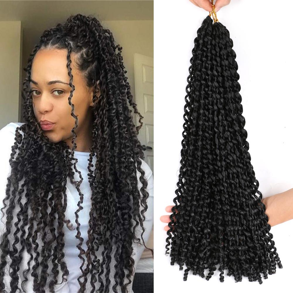 Cabello MTMEI Passion Twist Crochet pelo 18 pulgadas trenzas de ganchillo sintéticas extensiones de cabello trenzado Ombre negro marrón azul púrpura