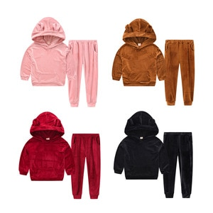 Boys and girls spring and autumn suits sports and leisure gold velvet bear ears hooded sweater two-piece children's clothing