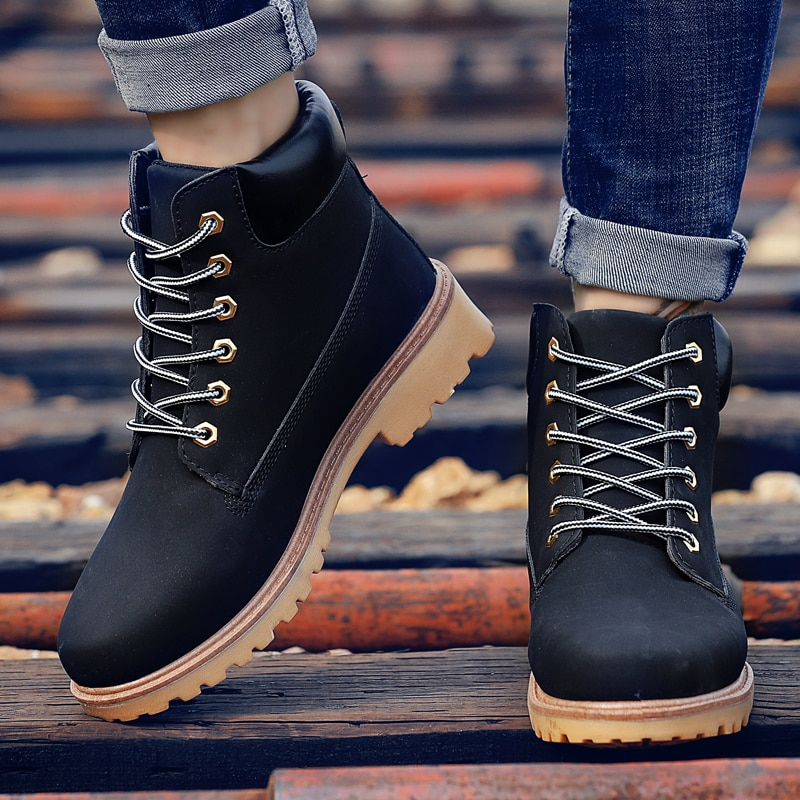 Coturno Black High Top Mens Boots Leather Winter Leisure Boots Men Waterproof With Keep Warm Timber Bot Booties Land Plus Shoes