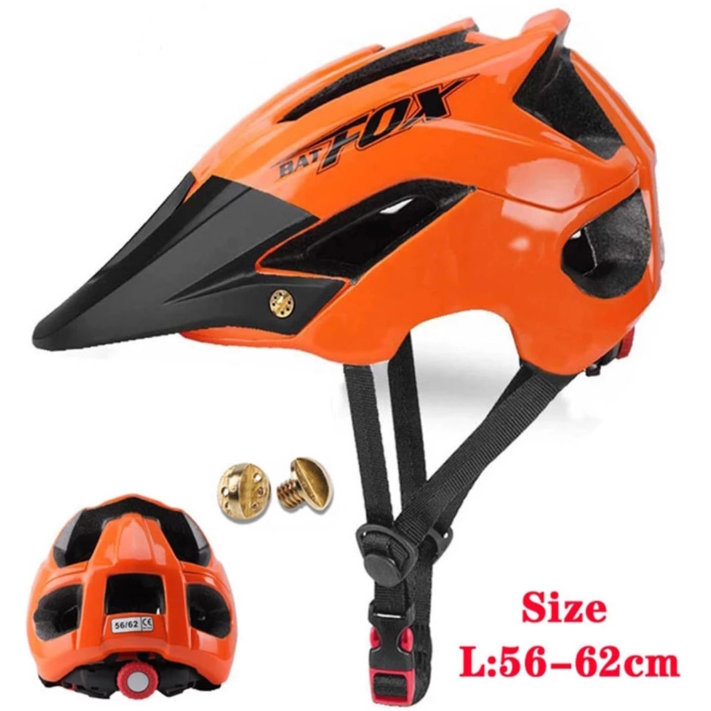 BATFOX MTB Cycling Helmet Mountain Road Bike Men Women Orange Bicycle Safety Outdoor Sport Big Visor casco
