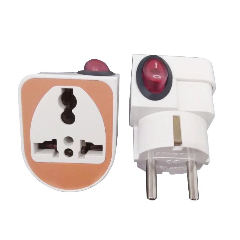 Enchufe Universal a la UE con interruptor 250V 10A enchufe del adaptador de viaje portátil enchufe eléctrico de 4,8mm enchufe portátil EU enchufe