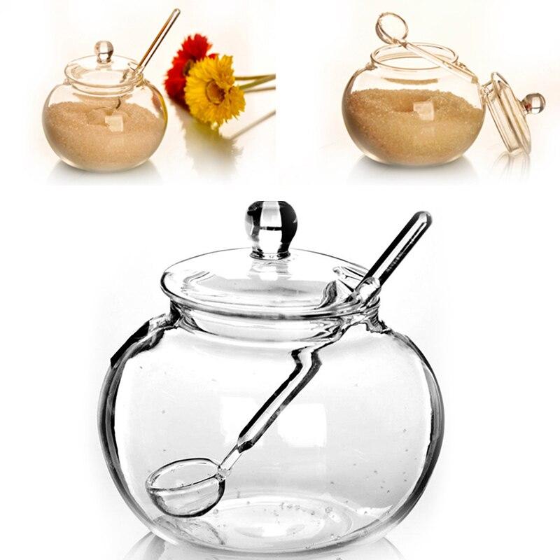 250 мл с украшением в виде кристаллов банка для сахара чаша Кухня комплект для хранения с крышкой и ложкой для баночек со для Кухня Sucrier Буле Tarro De Especias