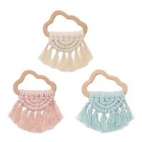 handmade natural wooden cloud teether bracelet baby kids shower chewing toy c5af