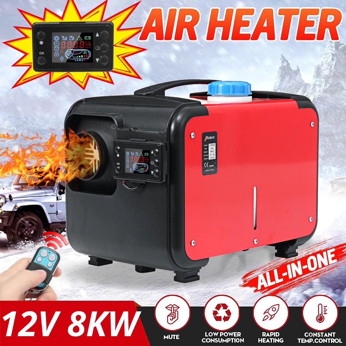 Hcalory All In One 1-8kW Air diesels Heater Red 8KW 12V One Hole Car Heater For Trucks Motor-Homes B