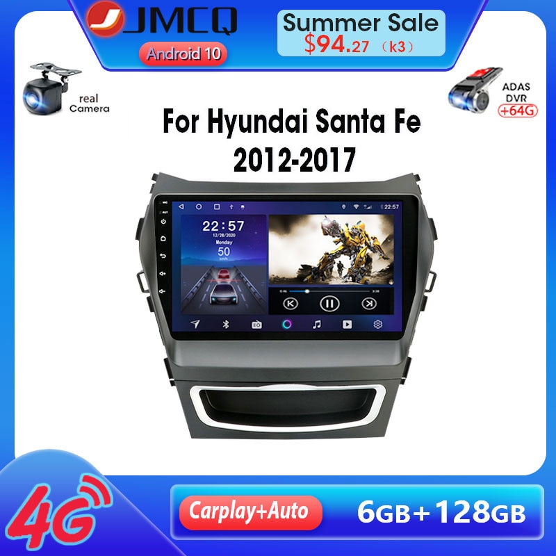 JMCQ-راديو السيارة Android 9.0 ، 4 gb/64 gb ، GPS ، RDS ، 2 din ، مشغل الوسائط ، لسيارة Hyundai Santa Fe 3 Grand (2012-2017)
