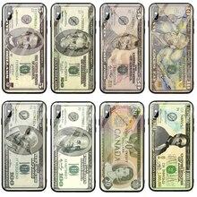 Funda de vidrio templado para teléfono móvil funda para iPhone X XR XS 11 Pro Max 8 7 Plus 6 6S Plus carcasa dólar billete Cosplay dinero