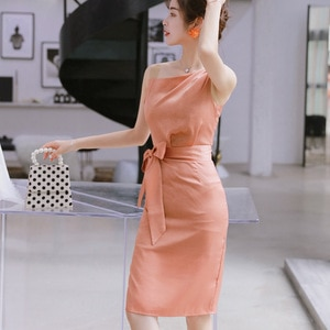 2021 Summer  New Commuting Temperament Women's Celebrities Inclined Shoulder Slim Tie Bow Sleeveless Dress