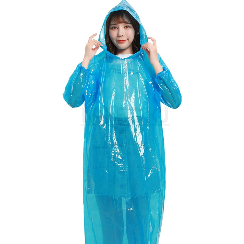 1 pcs Mens Raincoat Thicken Waterproof Adult Transparent Camping Hooded Outdoor Portable Disposable PonchoFashion Ms.