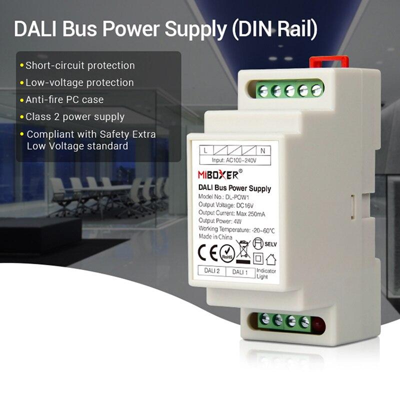 Ledダウンライトmiboxer dinレールdaliバス電源DL-POW1 DC16V 4 ワットMax250mA ledトランスac 110 v 220 vダリrgb cct