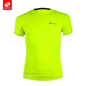 NUCKILY Men Running Cycling T Shirt Fitness Tight Long Sleeve Sport Tshirt Training Jogging Top Shirts Gym Sportswear Quick Dry