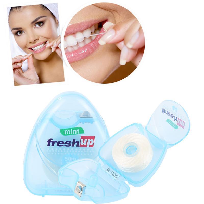 Portátil 50M Micro cera sabor a menta superfino Dental hilo Dental cepillo Interdental palillo de dientes hilo Dental o mondadientes hilo Dental higiene limpieza bucal
