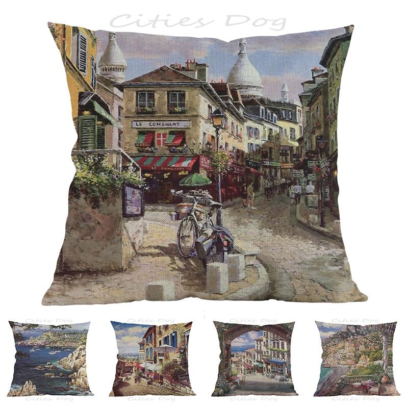 European style Paris Montmartre painting art 45*45cm square pillow case Cushion cover bar sofa pillow cushion covers