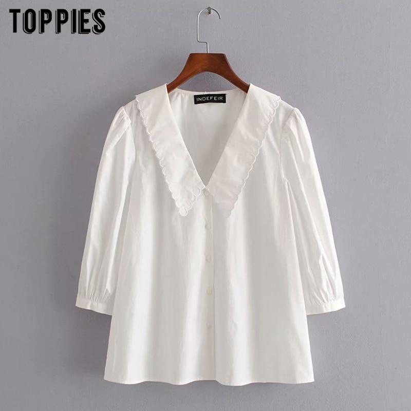 white cotton blouses tops women peter pan collar cute shirts summer tops three quarter sleeve
