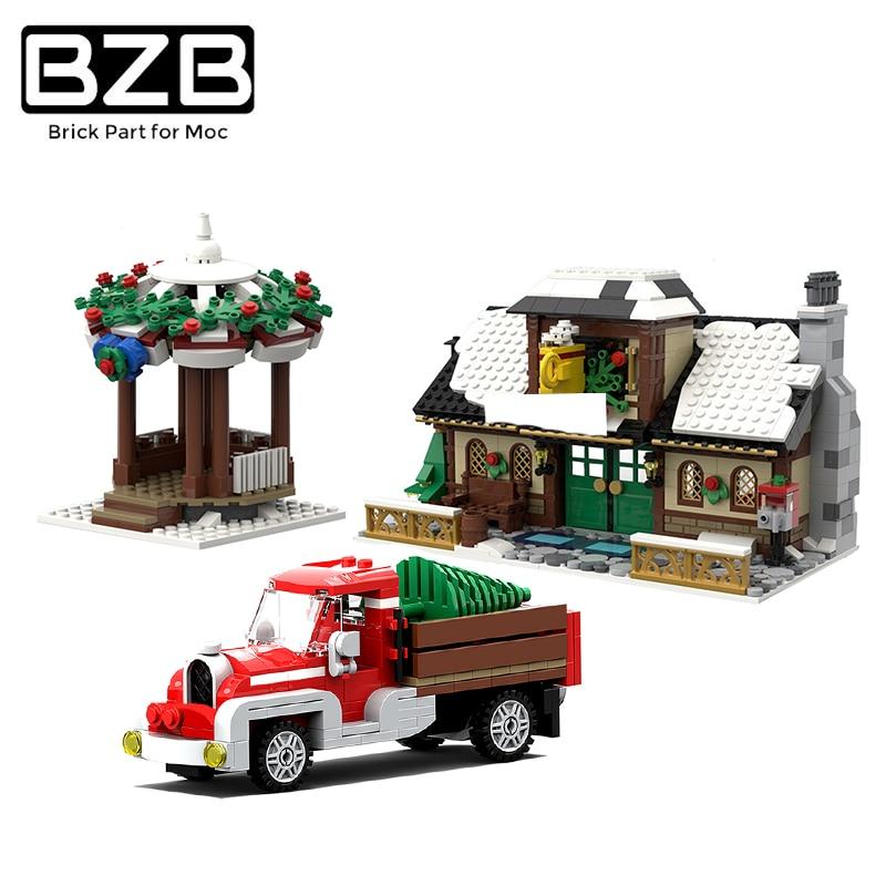 Рождественский, зимний, праздничный домик BZB MOC 17649, Санта-Клаус, строительные блоки, модель, детские игрушки «сделай сам», подарок на день рож...
