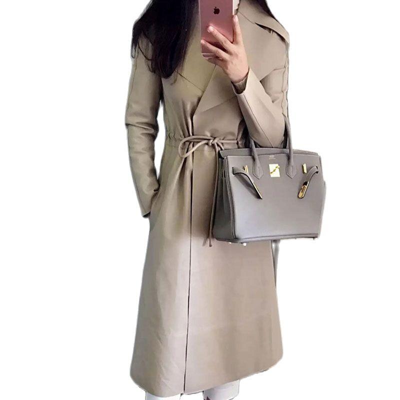 2021 women Sheepskin coat genuine Leather windcoat Women's Double-sided Leather Wind coat Women leather motorcycle jacket