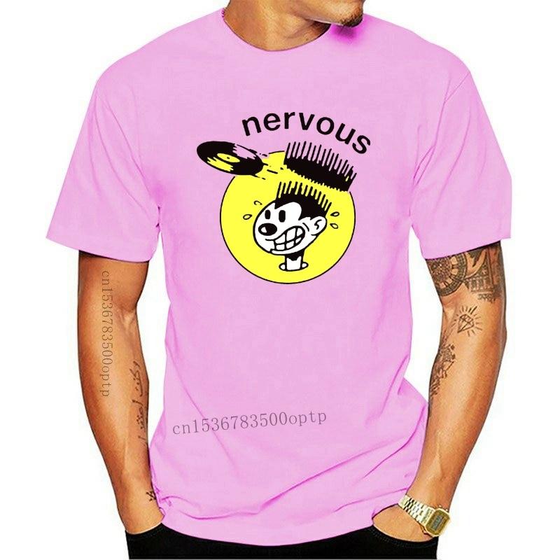 New Nervous Records Music Production House Logo Men'S White T-Shirt Size S - 3Xl Loose Plus Size? Te