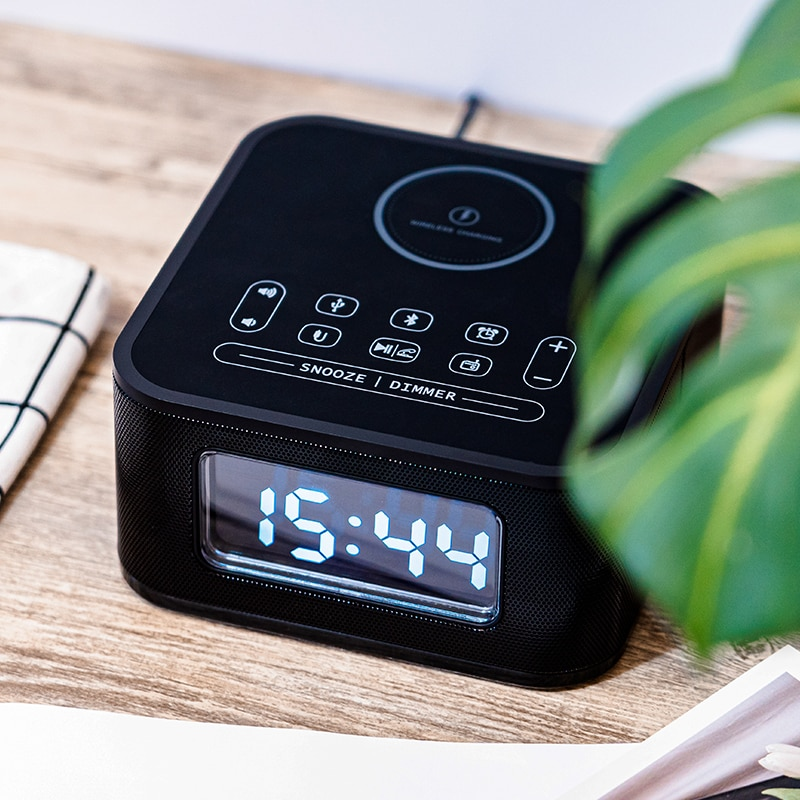 Homtime Wireless charging speaker with FM radio Bluetooth speakers USB charger microphone for bedroom portable speakerdesk clock enlarge