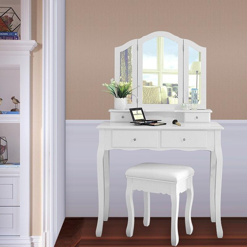 غرفة نوم الحديثة تشكل الجدول مرآة قابلة للطي خلع الملابس منظم الجدول الشمال ماكياج مضمد مجموعة مع خلع الملابس البراز لفتاة HWC