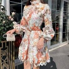 2020 New Arrive Woman Dress Single-breasted Floral Printed Lantern Sleeve Mini Dress Female Runway Design Vintage Vestido