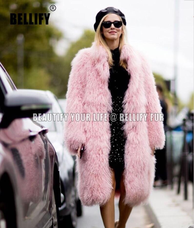 Классические роскошные женские пальто с натуральным мехом ягненка, верхняя одежда с большим воротником, винтажные женские монгольские мех...