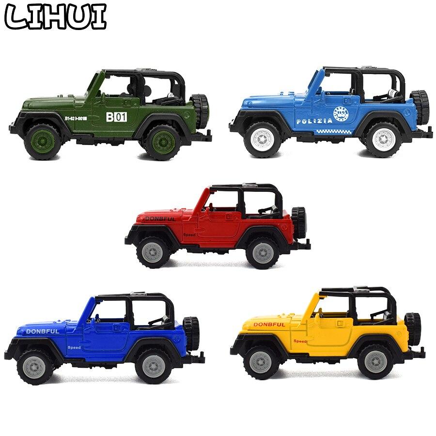 5 couleurs enfants jouet alliage moulé sous pression Jeeps Wrangler haut ouvert hors route véhicules Mini modèle jouets pour enfants garçons glisse voiture jouet cadeaux