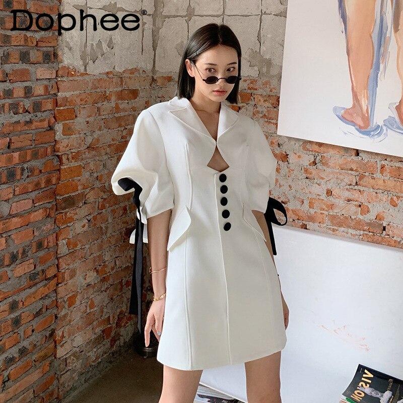 الأبيض القوس دعوى الأعمال فستان المرأة 2021 جديد الربيع الصيف الفرنسية هيبورن نمط زر التخسيس فستان الإناث Bodycon فستان مصغر