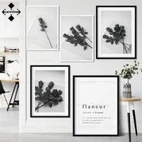 Affiche de lettres de mode nordique  peinture imprimee en noir et blanc pour decoration de maison