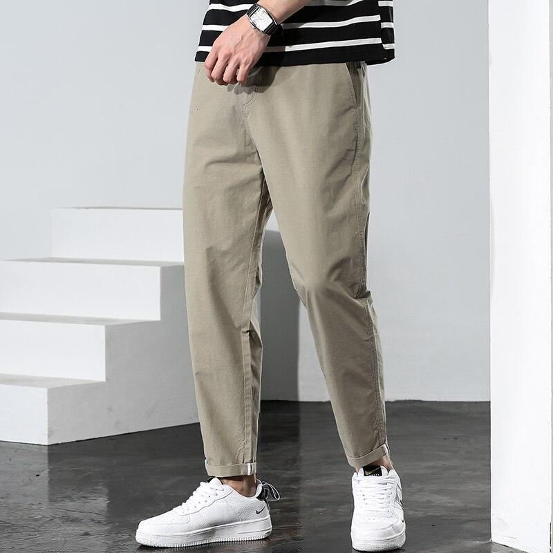 Мужские Молодежные облегающие длинные брюки 2021, летние повседневные шаровары, мужские модные тонкие брюки, универсальная уличная одежда, м...