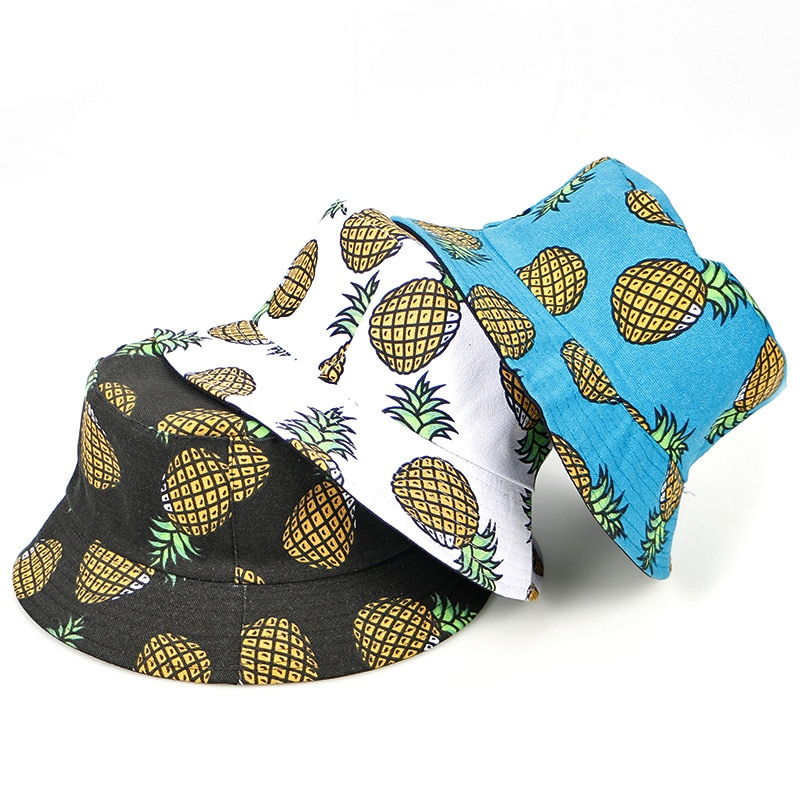 Hot sale spring autumn cotton unisex Double sided wear fruit ananas print outing casual fashion sunblock fisherman bucket hat