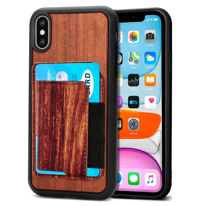 20pcs for iPhone 6 7 8 XS XR 11 12 Pro Max Mini Real Wood TPU Phone Case Cover With Card Slots 4 Colors Magnetic Function
