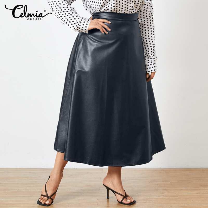 Celmia 2021 Autumn PU Leather Midi Skirts Women Office Retro Solid Skirt Plus Size OL Long Faldas Party High Waist Jupes